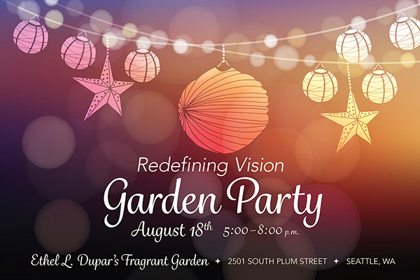 Redefining Vision Garden Party invitation graphic with hanging string lights and bright colors