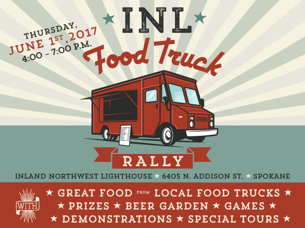 Invitation graphic for the 2017 INL Food Truck Rally with image of food truck