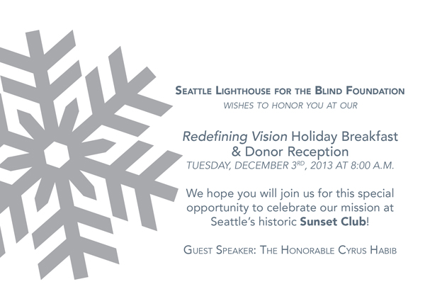 2013 Redefining Vision Holiday Breakfast invitation graphic