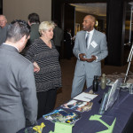 BSC Sales Coordinator David Jefferson (right) and Contact Center Representative Robert Studebaker (left) tell guests about the products we make at The Lighthouse for the Blind, Inc.