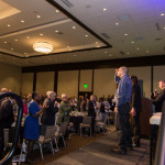 A standing ovation was given to the three employees featured in the video presentation during the event.